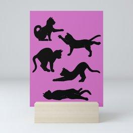 Inky yoga cats pink Mini Art Print