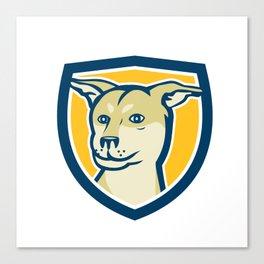 Husky Shar Pei Cross Dog Head Shield Cartoon Canvas Print