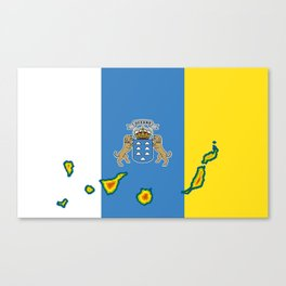 Canary Islands Flag with Map of the Canary Islands Islas Canarias Canvas Print