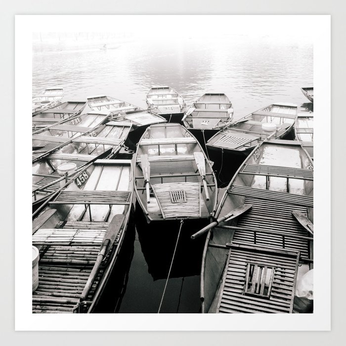 Boats in Vietnam Black and White Fine Art Print  • Travel Photography • Wall Art Art Print