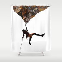 climbing Shower Curtains featuring Rock Climbing  by B Remembered Designs