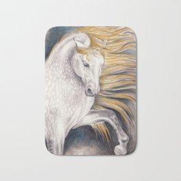 Andalusian Dapple Horse Watercolor Bath Mat