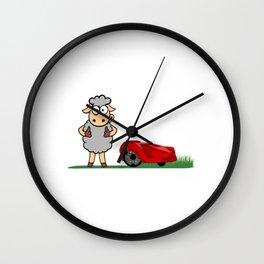 Unique Sheep Lawnmower Grass Cutting Cutter Gardening Garden Farmer Farm Farmer T-shirt Design Fur Wall Clock