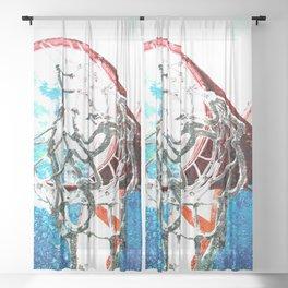 basketball art swoosh vs 7 Sheer Curtain