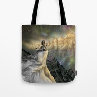 northern lights Tote Bags featuring Northern Lights by Lyndsey Green Illustration