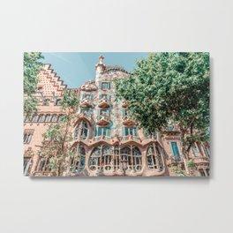 Casa Batllo, Antoni Gaudi Architecture, Barcelona Landmark, Urban Details, Downtown City, House Facade Metal Print