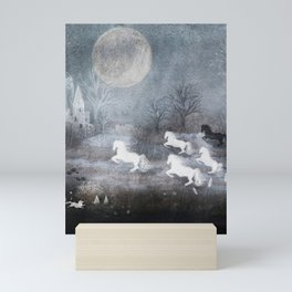 Five Horses and a Fox Mini Art Print