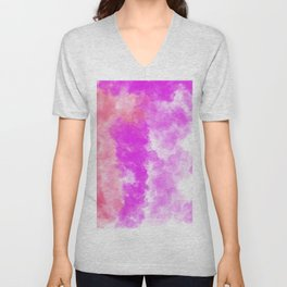 Hand Painted Abstract Magenta Pink Coral Watercolor Unisex V-Neck