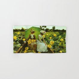 Spectacular 'Yellow Lotus Lilies' Floral Lily Pond portrait painting Charles Courtney Curran Hand & Bath Towel