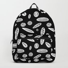 Many Autumn Plant Seeds Pattern in Black Backpack