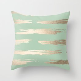 Simply Brushed Stripe White Gold Sands on Pastel Cactus Green Throw Pillow