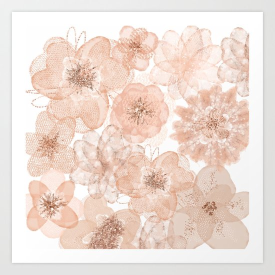 Flowers and Lace- Floral pattern in pink Art Print