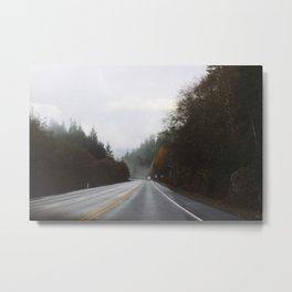 Overcast Fall Road Metal Print