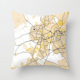 Stockton - On - Tees Yellow City Map Throw Pillow