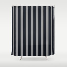 Vertical Stripes Black & Cool Gray Shower Curtain
