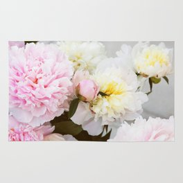 Peony bouquet photo. Pink and white flowers Rug