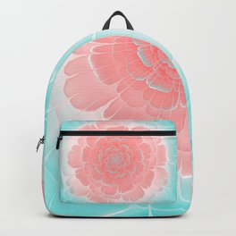 Romantic aqua and pink flower, digital abstracts Backpack