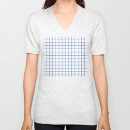 Dotted Grid Boarder Blue on White Unisex V-Neck