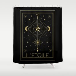 L'Etoile or The Star Tarot Gold Shower Curtain
