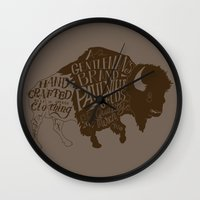 buffalo Wall Clocks featuring Buffalo by Paul McCreery