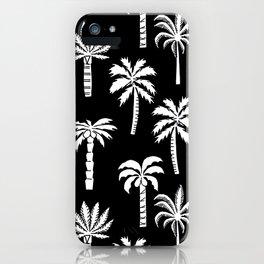 Palm Trees linocut black and white tropical summer art minimalist decor iPhone Case