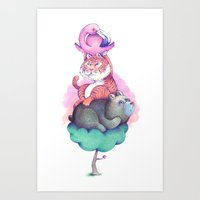 totem Art Prints featuring Totem by Anna Cannuzz