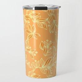 Orange Floral Pattern Travel Mug