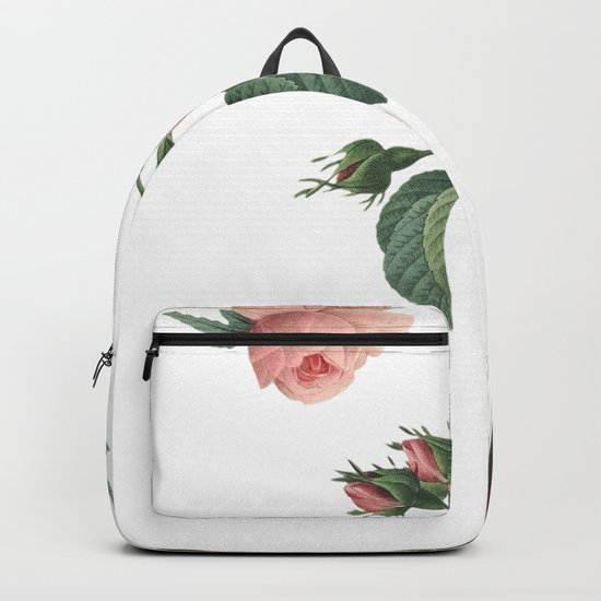 Butterflies in the Rose Garden on White Backpack