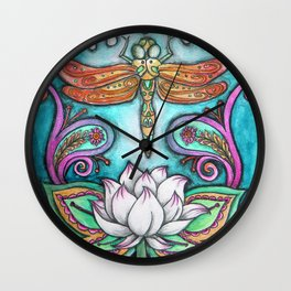 Enlightened Dragonfly Wall Clock