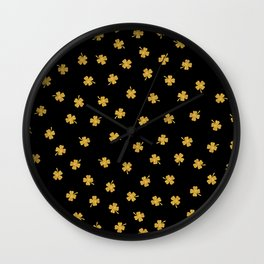 Golden shamrocks Black Background Wall Clock