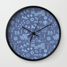 Peoples Story - Blue on Blue Wall Clock