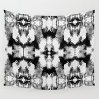 tie dye Wall Tapestries featuring Tie Dye Blacks by Nina May Designs