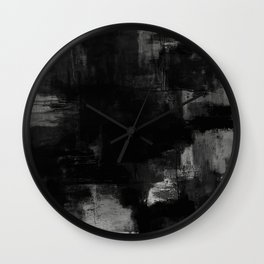 Pointless - Black and white abstract textured painting Wall Clock