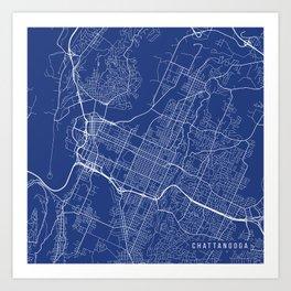 Chattanooga Map, USA - Blue Art Print