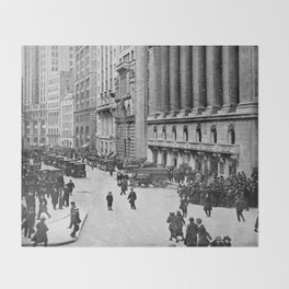 Vintage Wall Street NYC Photograph (1921) Throw Blanket