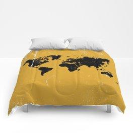 Grunge world map Comforters