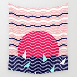 Hello Ocean Sunset Waves Wall Tapestry