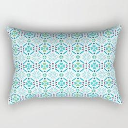 Floral Mosaic Turquoise Pattern Rectangular Pillow
