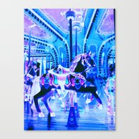 carousel Canvas Prints featuring Carousel by WhimsyRomance&Fun