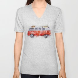 Camper Bus - retro camping van painting / illustration Unisex V-Neck