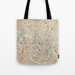 Vintage Map of Paris (1892) Tote Bag