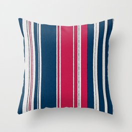 Navy, Red and White Stripe Watercolor Throw Pillow