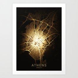athens city night light map Art Print