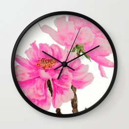 two pink peonies watercolor Wall Clock