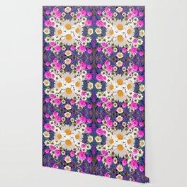 DAISIES & FUCHSIA COSMO FLOWER GARDEN Wallpaper