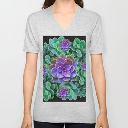 GREY-GREEN LILAC SUCCULENTS GARDEN  IN BLACK ART Unisex V-Neck