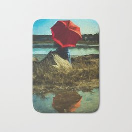 Girl with Red Umbrella Bath Mat