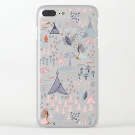 Native american inspired pattern pastel colors Clear iPhone Case