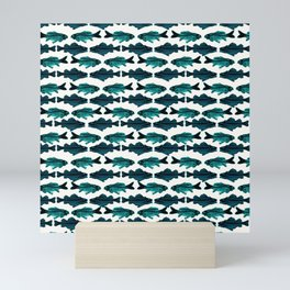 Fish (blue on white) Mini Art Print