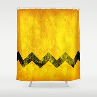 charlie brown Shower Curtains featuring Distressed Charlie Brown by Leah M. Gunther Photography & Design